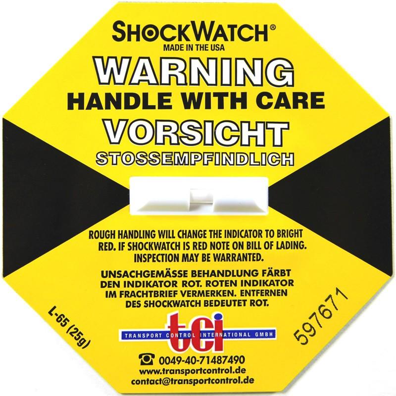 Shockindikator Shockwatch 25g / 50ms gelb. selbstklebend.