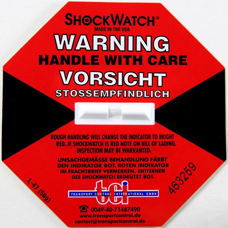 Shockindikator Shockwatch 50g / 50ms rot. selbstklebend.