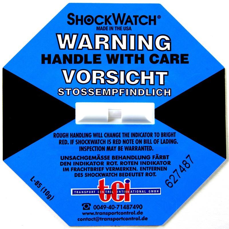 Shockindikator Shockwatch 10 g / 50ms blau. selbstklebend.