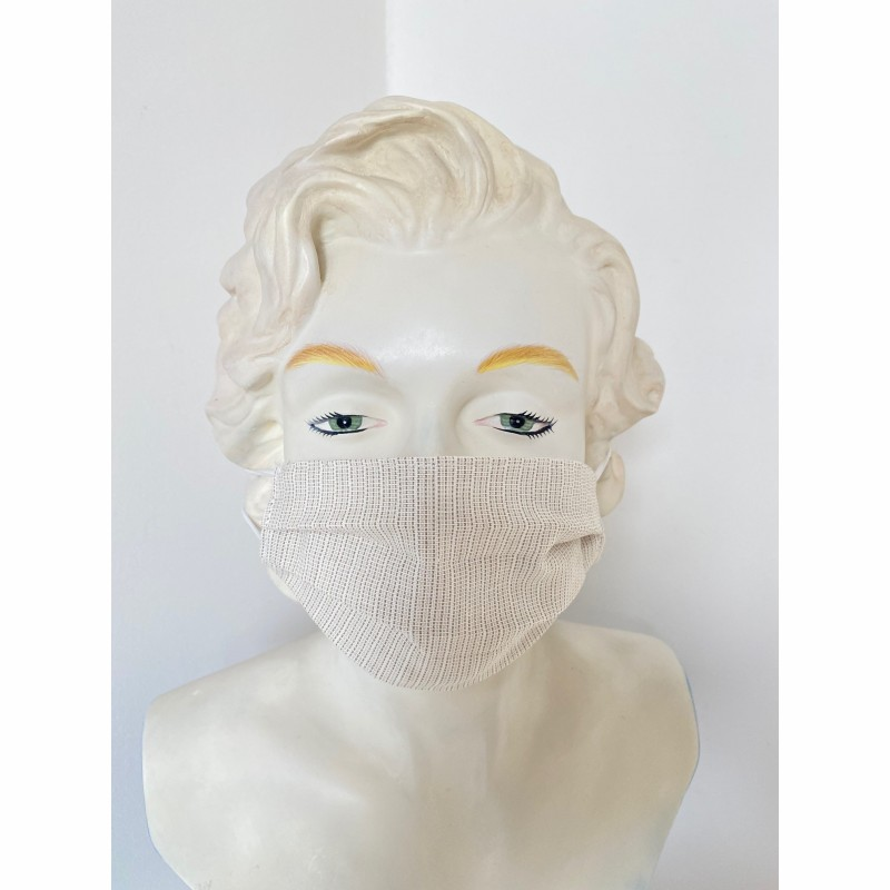 Protective mask - face mask - reusable - sand colored -behind the head