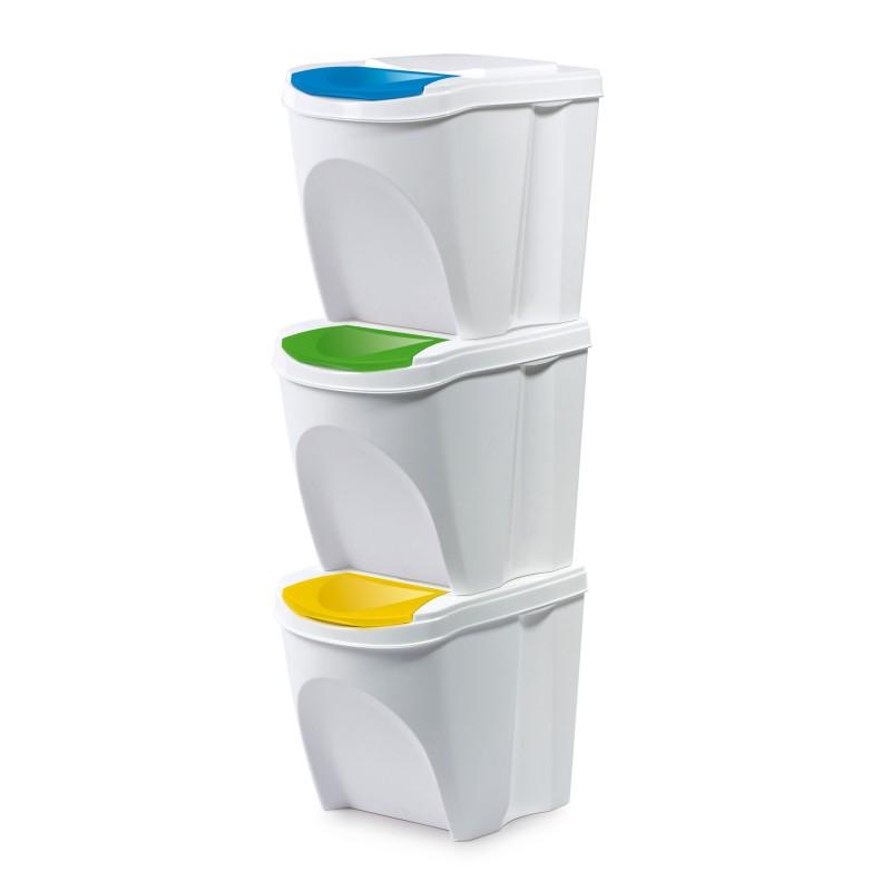 Set of 3 waste bins - white