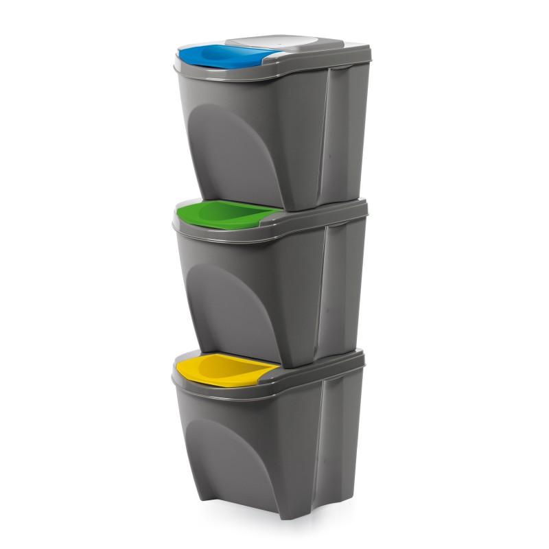 Set of 3 waste bins - stone gray