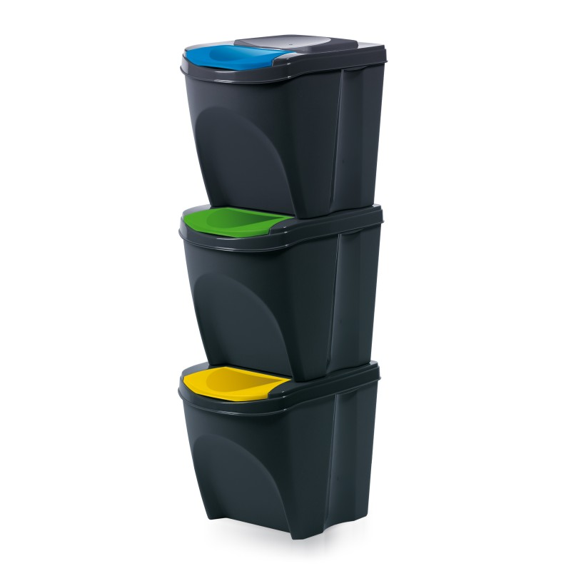 Set of 3 waste bins - anthracite