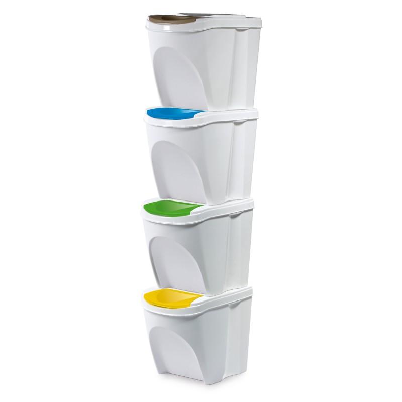 Set of 4 waste bins - white