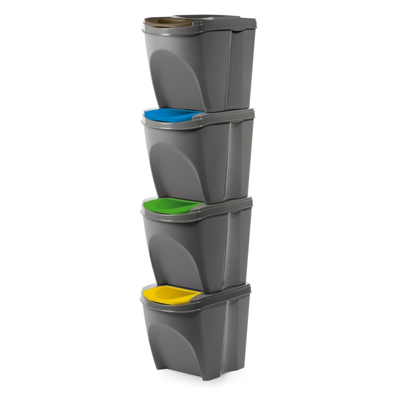 Set of 4 waste bins - stone gray