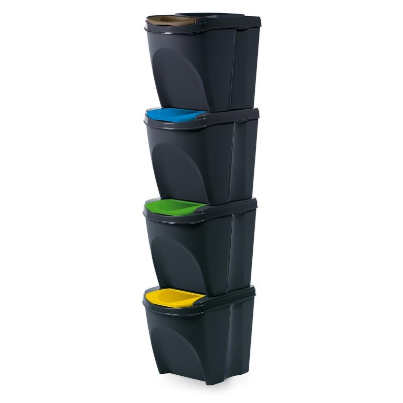 Set of 4 waste bins - anthracite