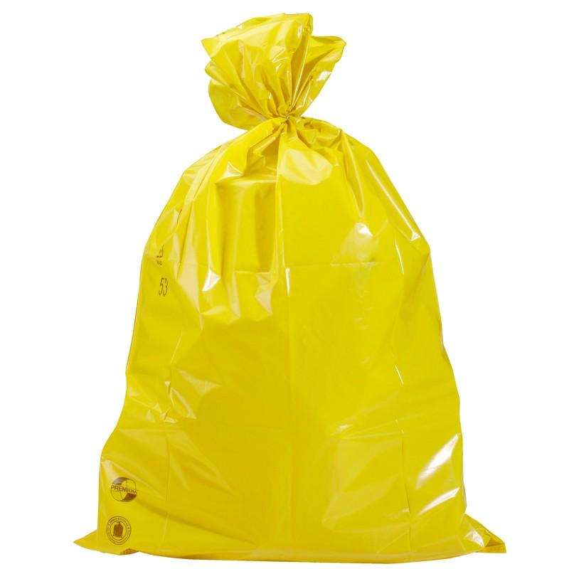PE-Abfallsack 700x1100mm, 45µ. gelb, Inhalt 120l. 25 St. je Ro./10 Ro. je Karton