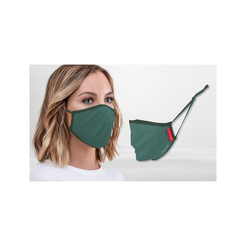 FFP2 Nano-Facemask, CE certified with adjustable ear loops Petrol/Green Black